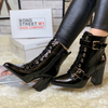 Black Patent Court Heeled Lace Up Boots