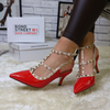 Red Studded Kitten Heel