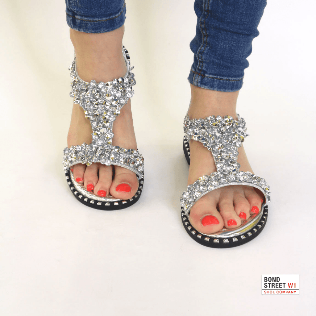 Silver sequin sandal 1006-Silver