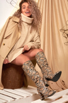 Nude Knee High Snake Print Boot