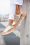 Nude & white strap trainers