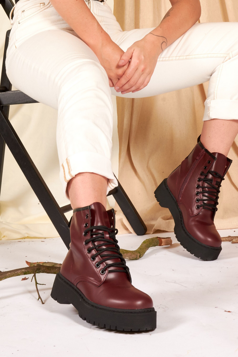 Burgundy Matte Lace Up Boots