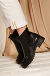 Black Studded Pu Ankle Boot