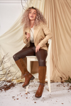 Camel Knee High Layered Strap Boot