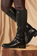 Black PU Faux Leather Knee High Boot