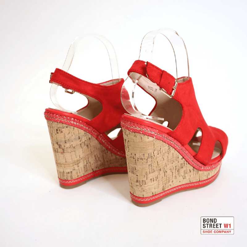 Red strap open toe Wedges MK573-Red