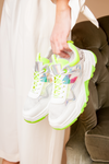 White chunky trainer in neon green