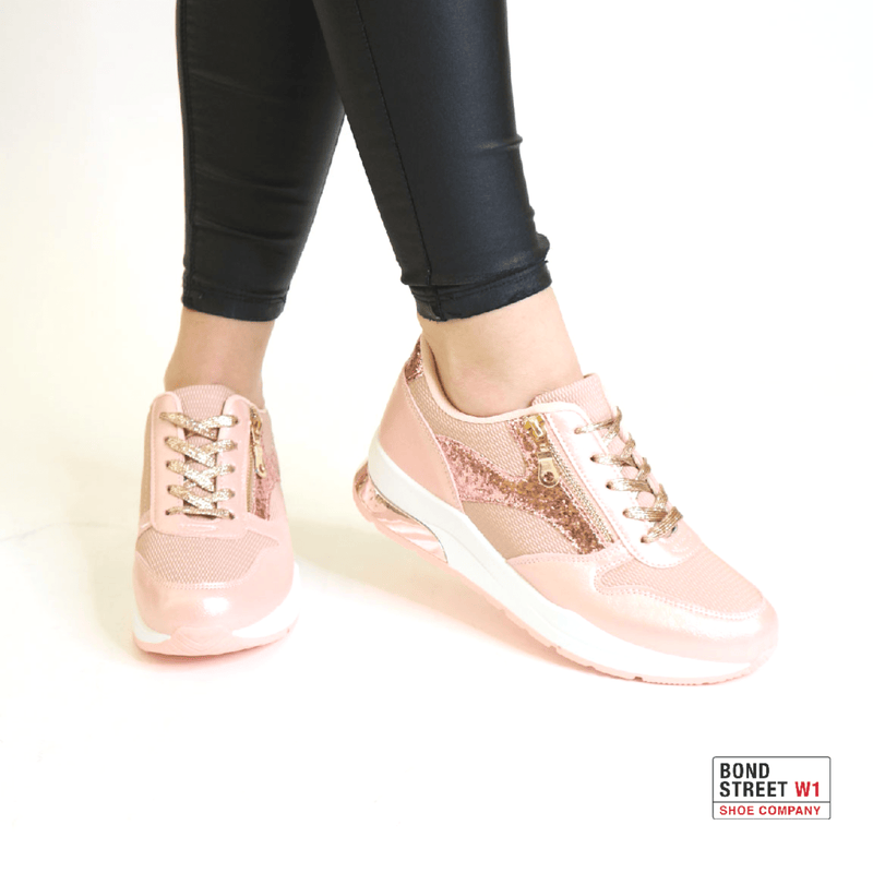 Pink lace up with zip detailing trainers JLL-855-Pink