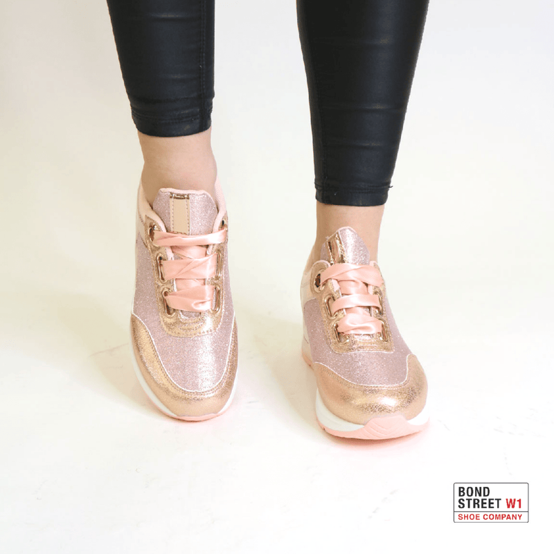 Pink ribbon lace trainers JLL-856-Pink