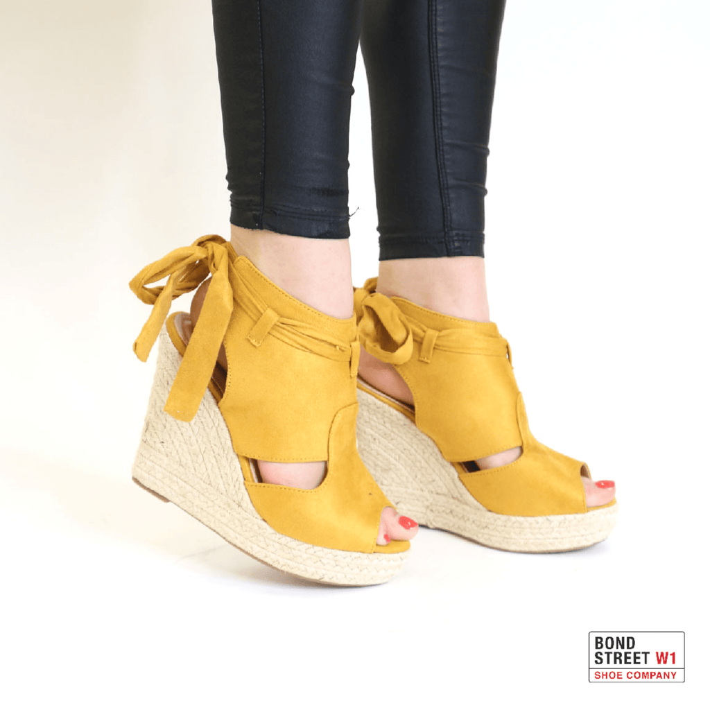 Yellow suede wedges L646-Yellow