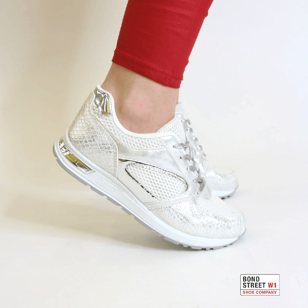 White & silver style trainers JLL-857-wHITE