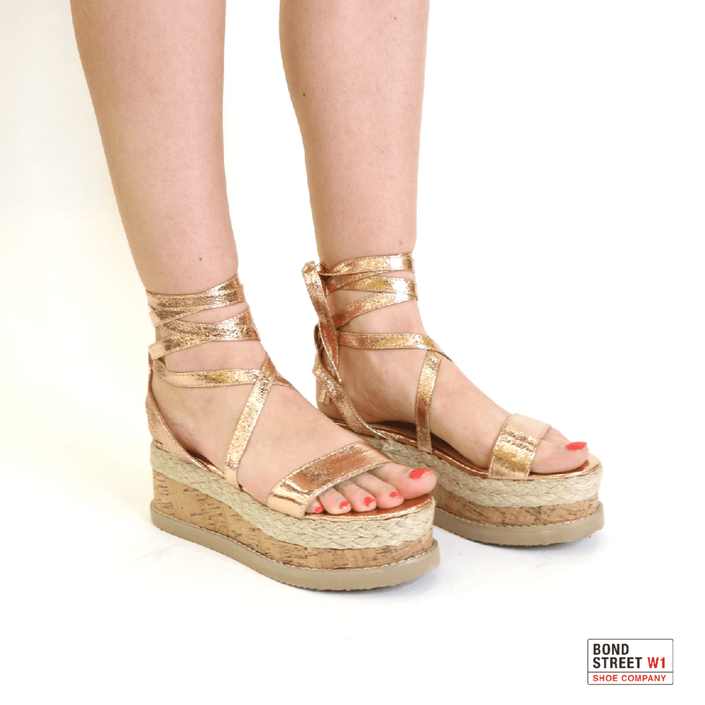 Kayla Rose Gold sandals with wedge