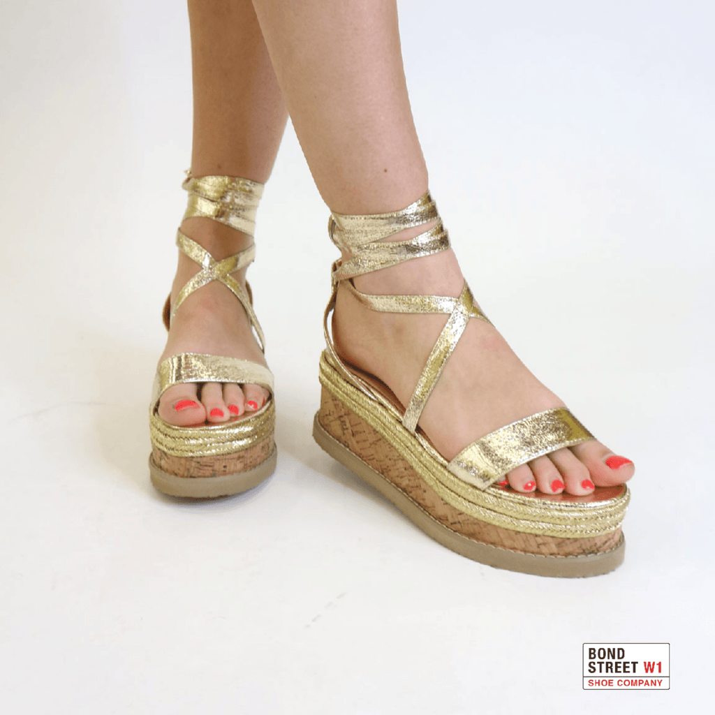 Tori Gold wedge sandals