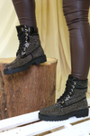 Black Diamante Biker Boots