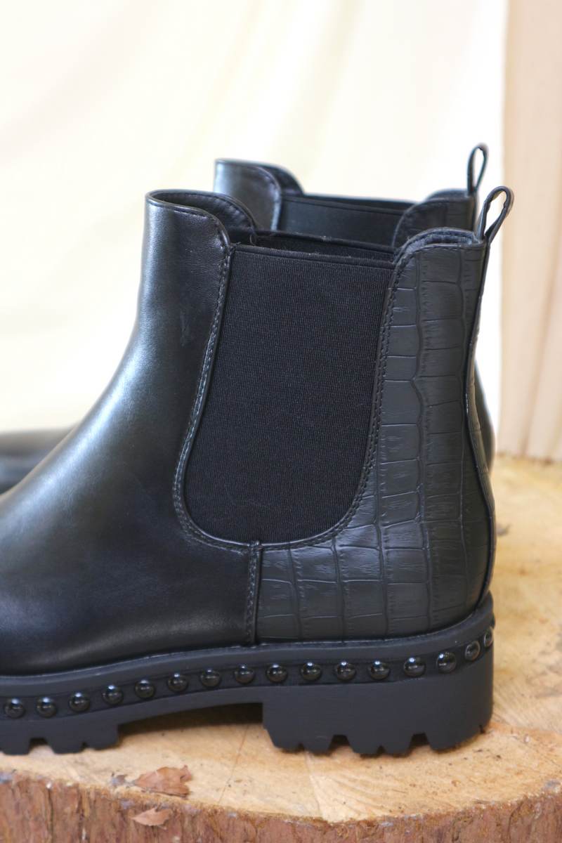 Black Croc Effect Ankle Boot