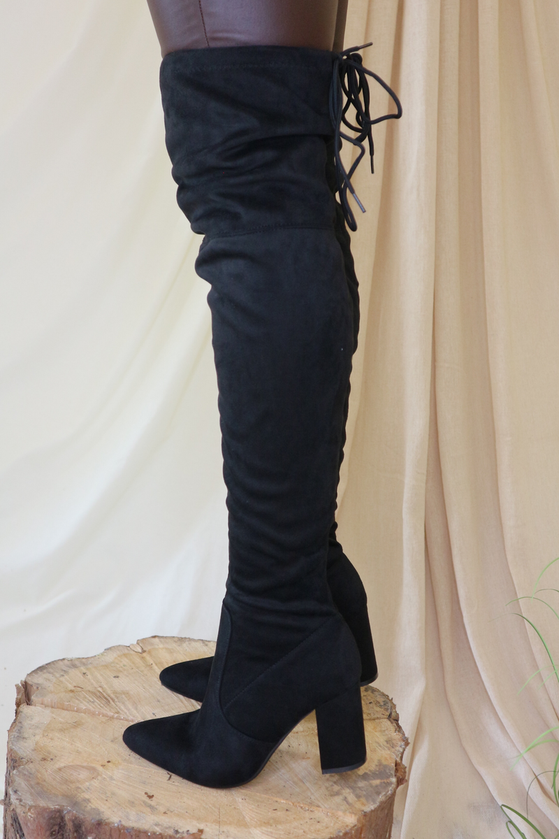 Black Over The Knee Heeled Boot
