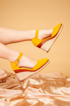 Yellow buckle wedge sandals