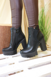 Black Faux Leather Heeled Boots