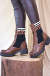 Brown Material Patterned Boots