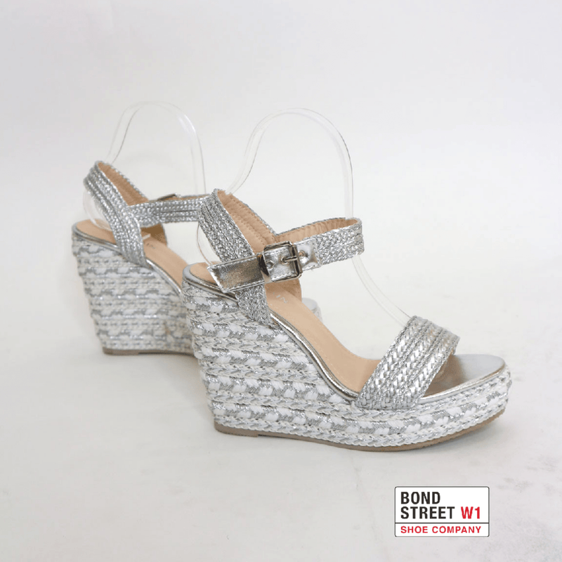 Silver plaited wedges YB02-Silver