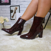 PU gold buckle heeled boots