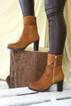 Camel material style knee high boot