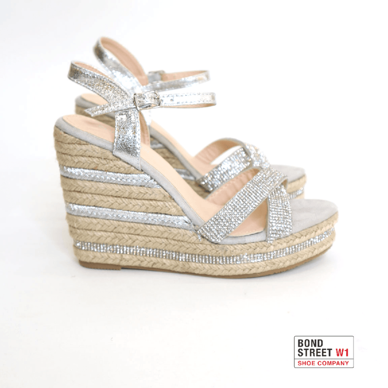 Silver diamante wedge YB01-Silver