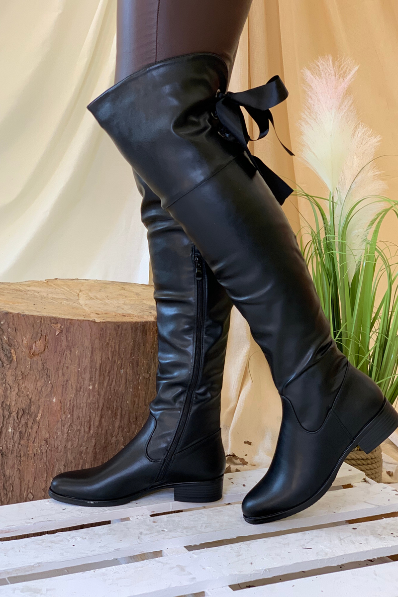 Black Faux leather bow knee high boot