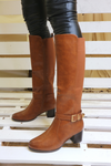 Camel Low Heel Knee High Boot