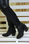 Black Vegan Faux Leather Heeled Knee High Boots