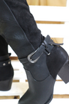 Grey block heeled boots