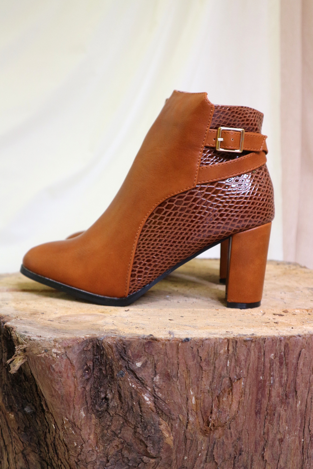 Camel Heeled Snake Textured Ankle Boot