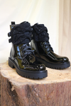 Black Patent Biker Boot with Material Diamante Bow