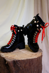 Black Red Laces Pearl Heeled Boots