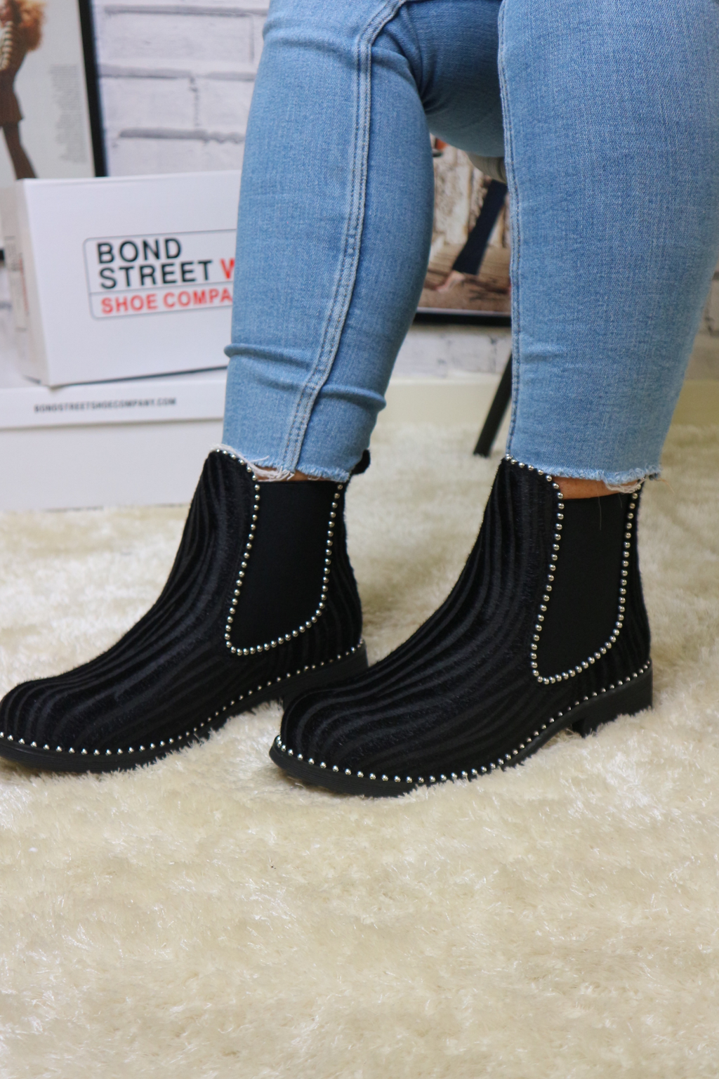 Zebra all black ankle boot