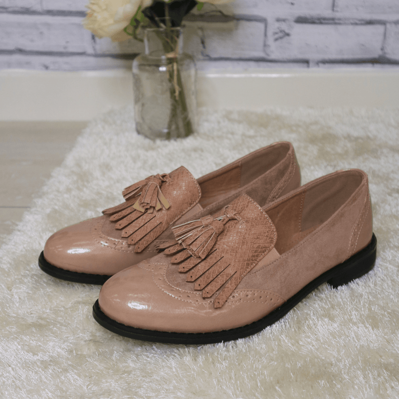 Pink tassel loafers