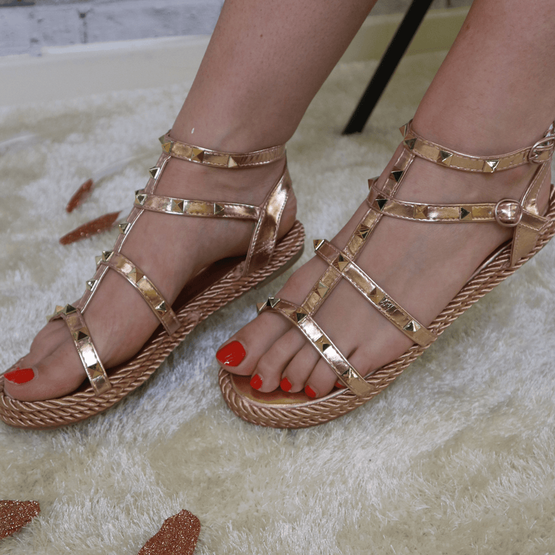 Rose Gold studded sandal