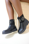 Black diamante star ankle boots