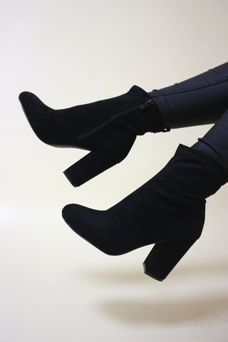 Black Low Heel Knee High Boot