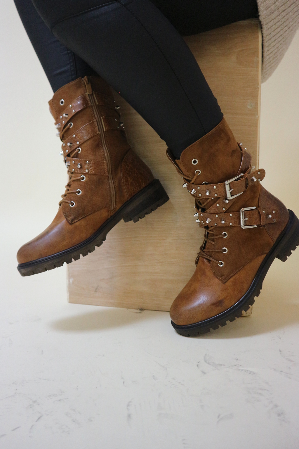Camel studded biker boot