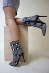 Diamante strap heeled boots