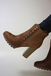Camel chunky heeled boots