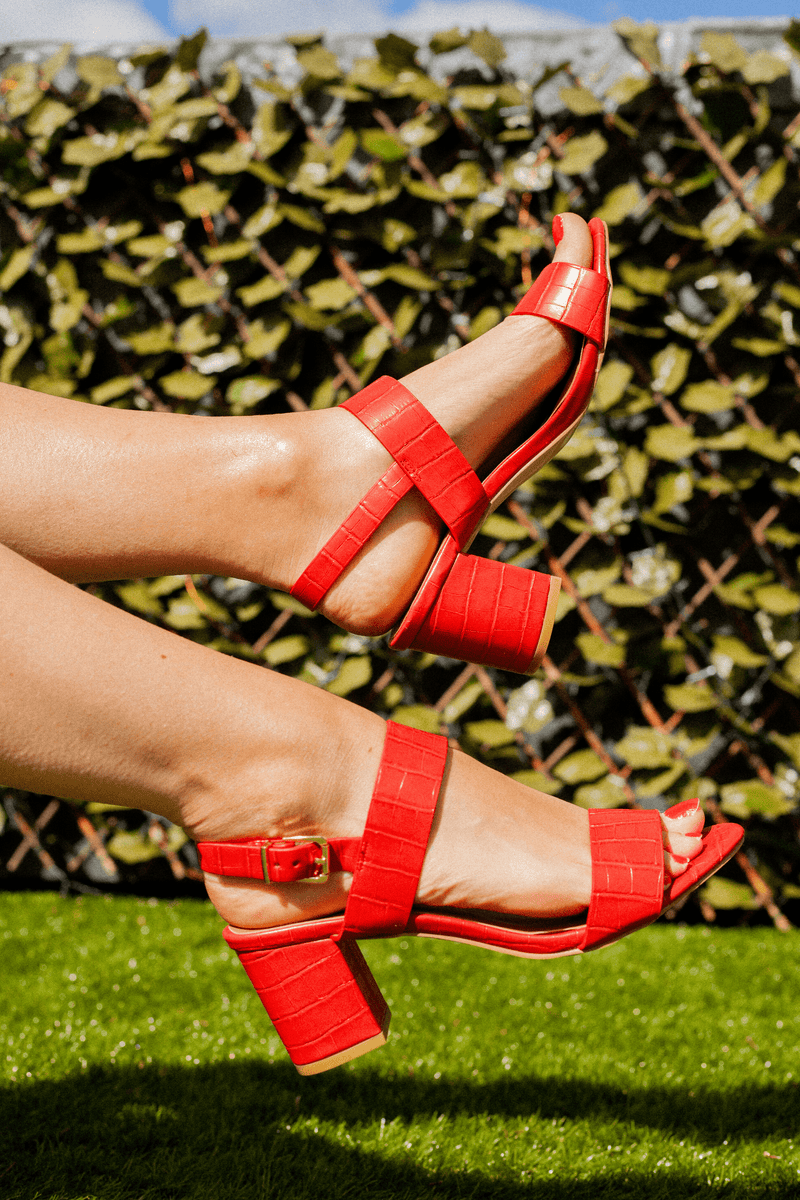Red Faux Croc Heel