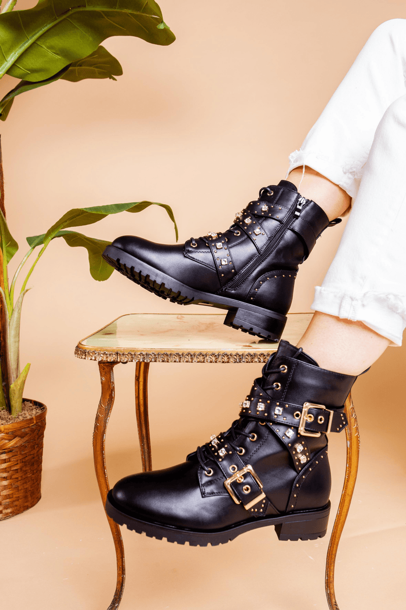 Embellished Black Biker Boot