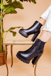 Black Chunky Heeled Boot