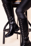 Black Lace Up Knee High Boot