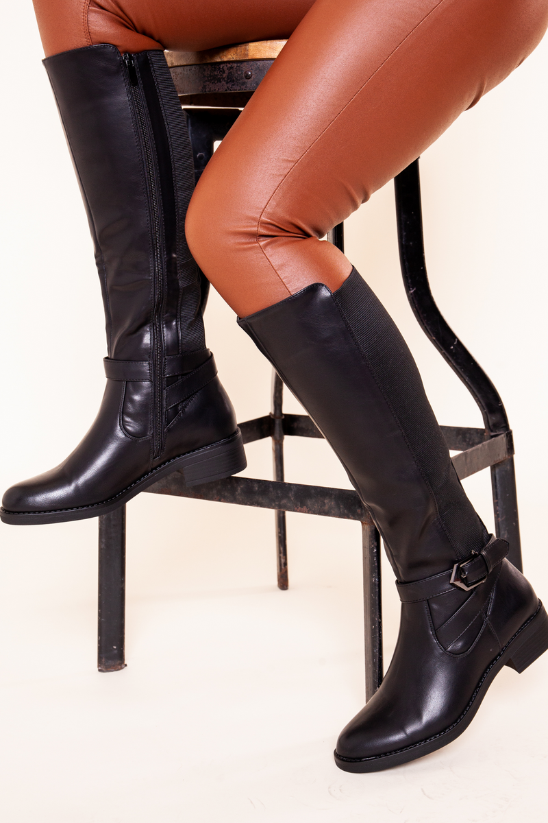 Black Wide Fitting Knee High Boot
