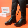 Black layered ankle boot