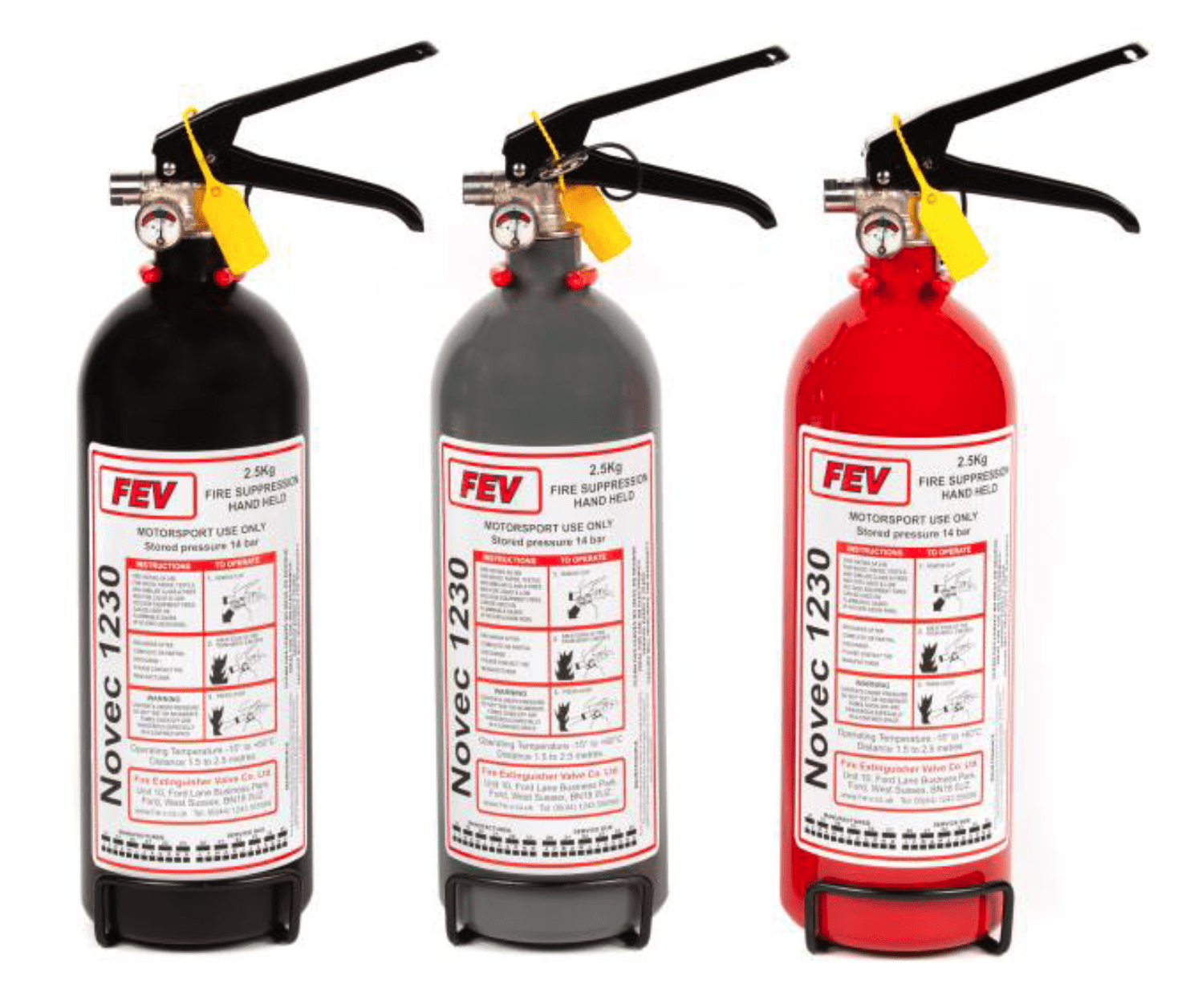FEV FIRE EXTINGUISHER 2.5KG Novec 1230 Gas Handheld Extinguisher - FEV FE-NOVEC2500HH-MB, FE-NOVEC2500HH-MG and FE-NOVEC2500HH
