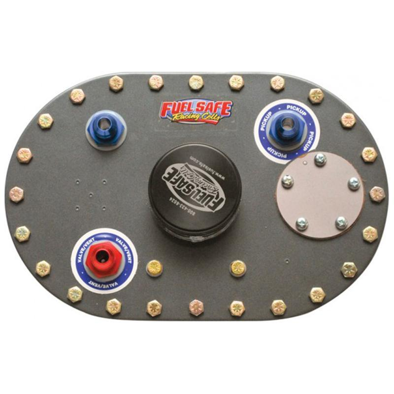 "FUEL SAFE PHYSICAL Fuelsafe 6"" x 10"" Alloy fill plate, 2.5"" filler,  -8 inlet and outlet, sender provision"